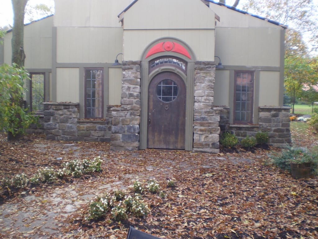The exterior of the lower part of the house is built with Bluestone Cobblestone.