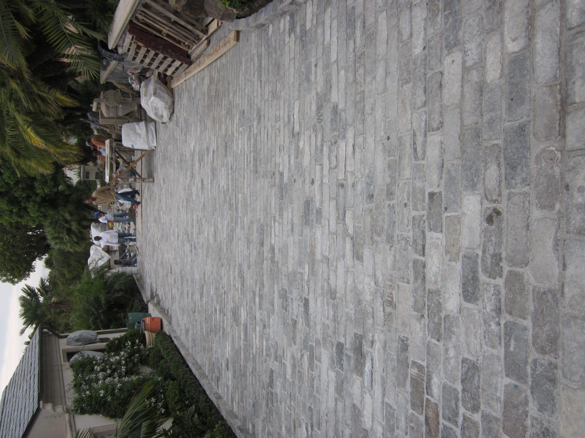 You can view a Salt and Pepper paved street with people at the very end.