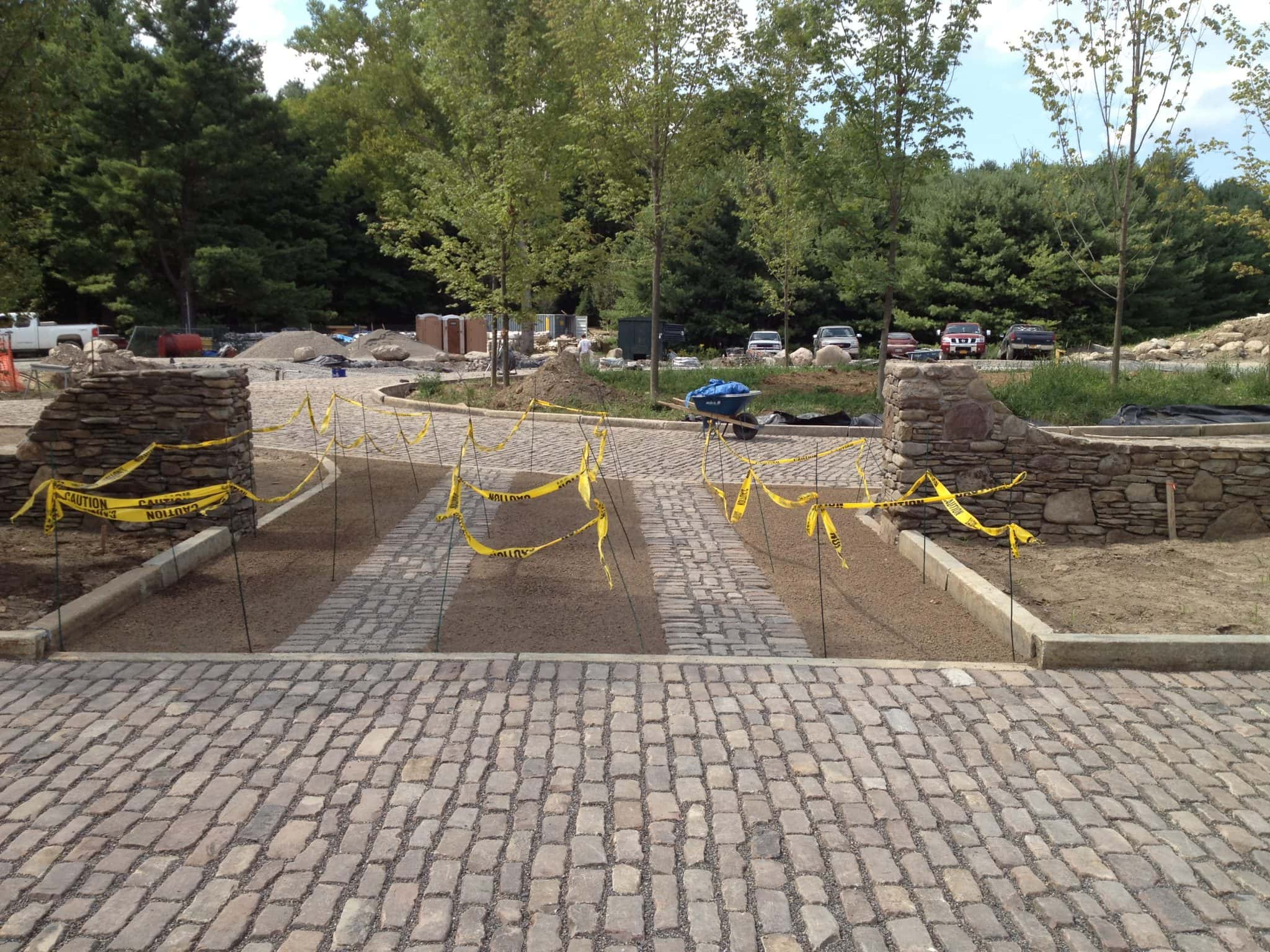 You can see an Old English Cobblestone paved ground in the last phases of contruction.