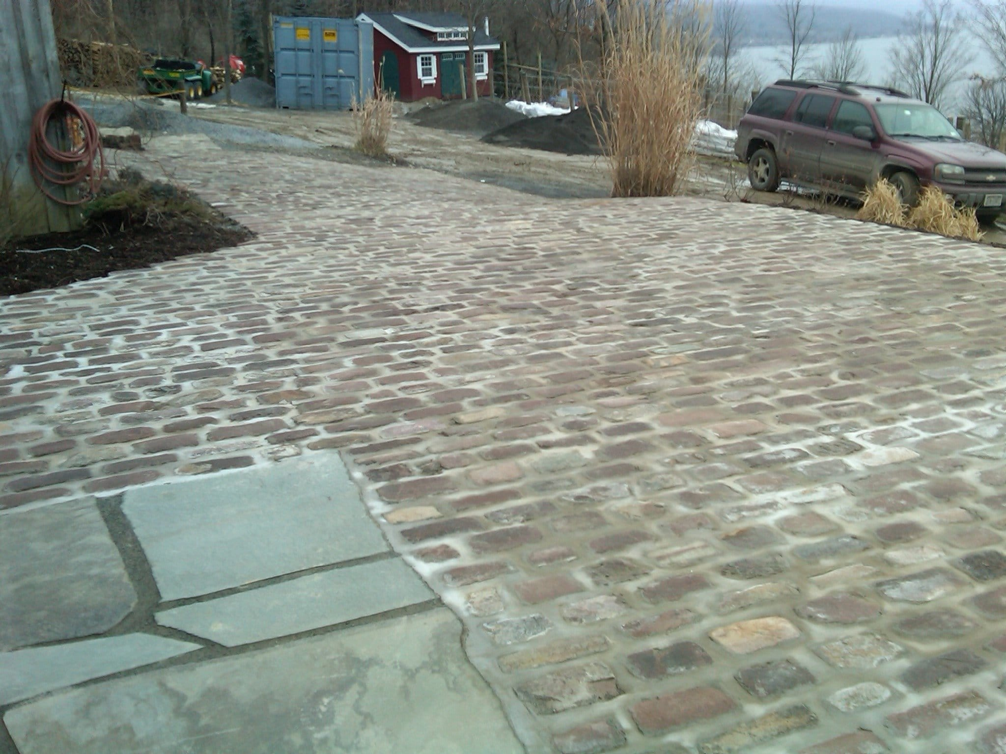 You can see a close-up photo of the Old English Cobblestone paving outside in Fingerlakes.
