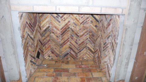 Overview of a Reclaimed Antique Firebrick chimney.