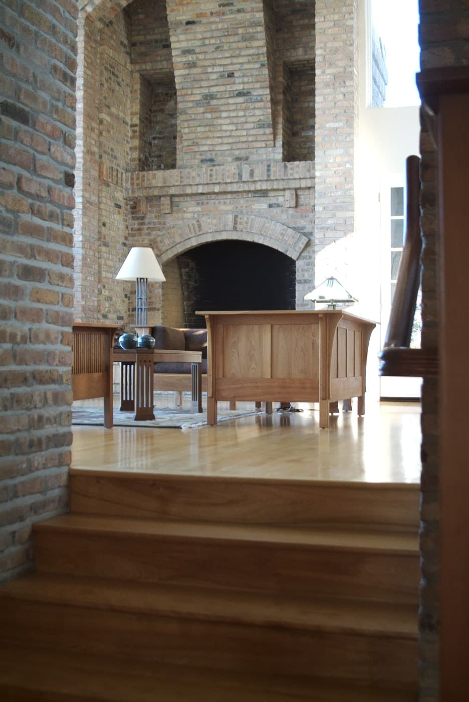 Interior of the Kraffert house. You can view the veneer brick throughout the interior of the ample room.