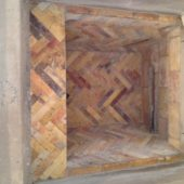 View of the interior of a clean chimney built with Reclaimed Antique Firebrick.