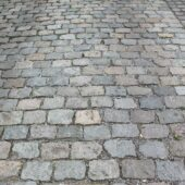 Close up view of Antique European Porphyry Cobbles paving.