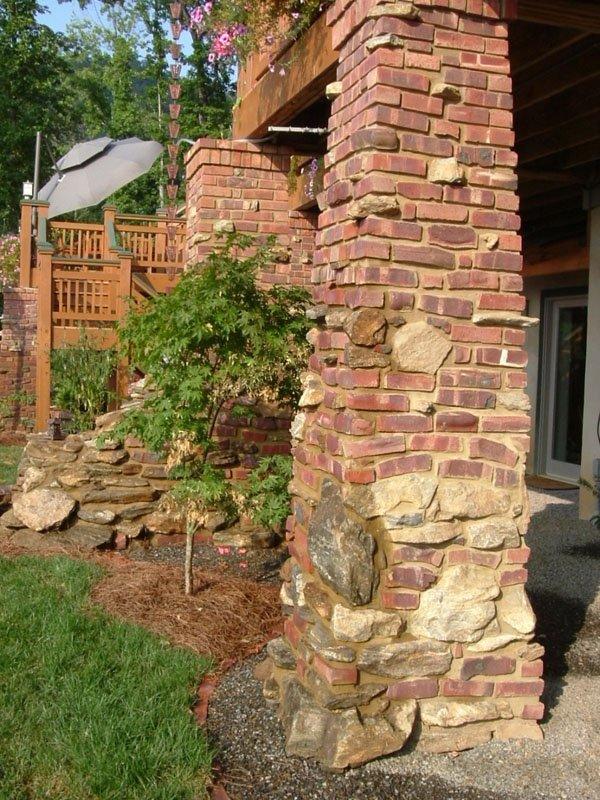 Close-up view of an old pasadena clinkers brick pillar holding up a terrace.