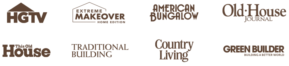 Featured logos that Historical Bricks has been featured in - including HGTV, Extreme Makover Home Edition, American Bungalow, Old House Journal, and a handful of others