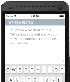 Mobile device replicating leaving an online review